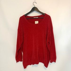 Sejour Red Sweater - Plus Size 1X - Scoop Neck NWT